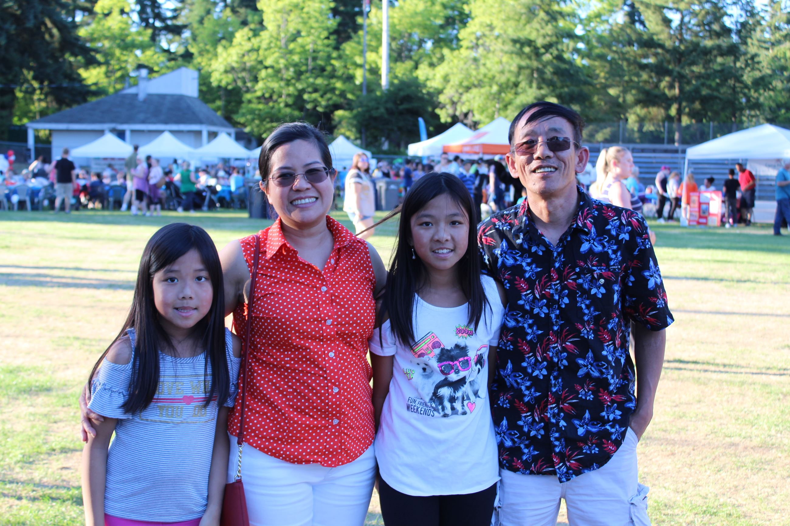 Family at city event