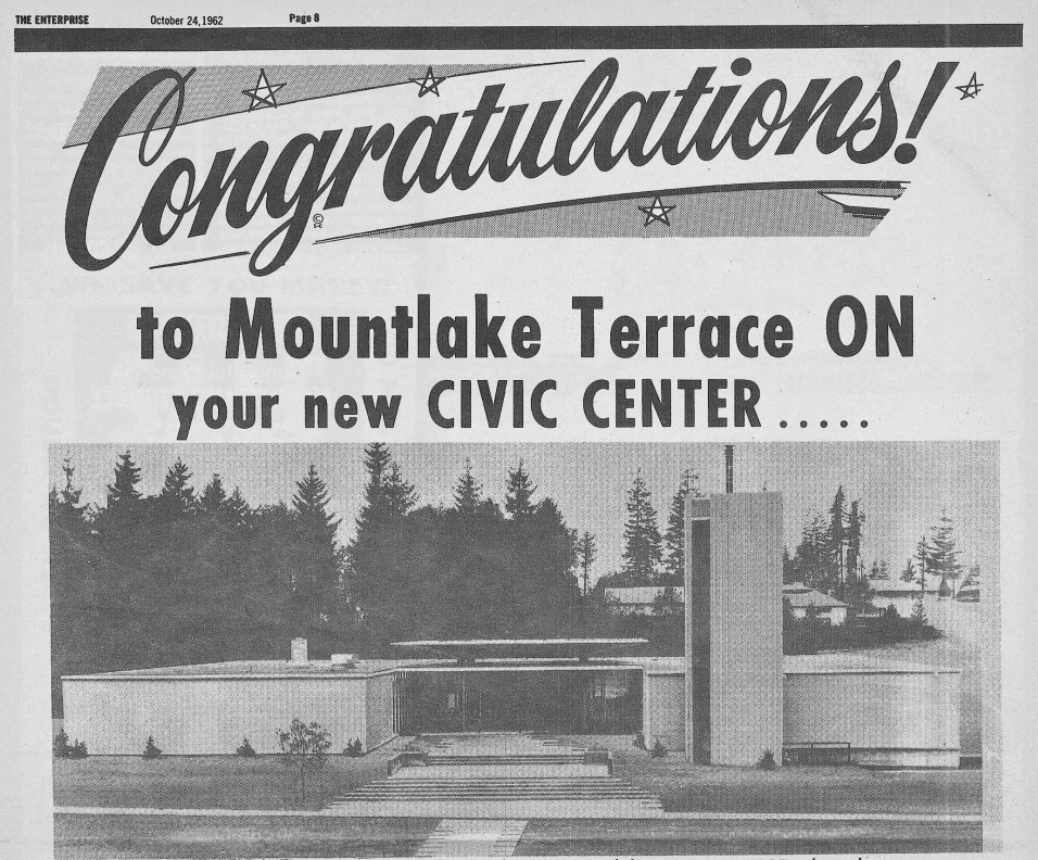 October 24 1962_Enterprise Front Page_Congrats on New Civic Center